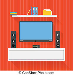 amusement, media, moderne, systeem, illustratie, thuis