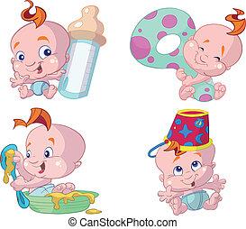 amusement, mignon, bébés, collection