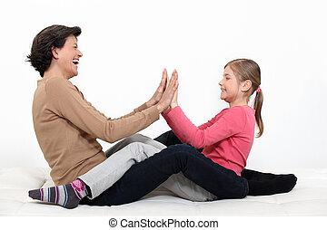 amusement, moment, partage, fille, mère