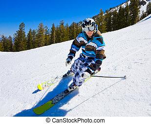 amusement, montagne, avoir, skieur