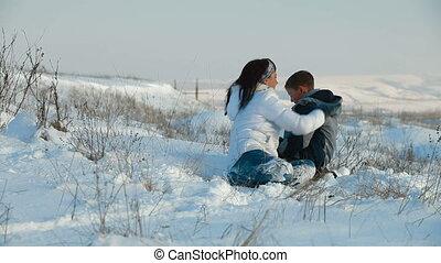 amusement, neige, famille
