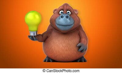 amusement, orangoutan, animation, -, 3d