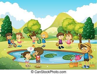 amusement, parc, avoir, enfants