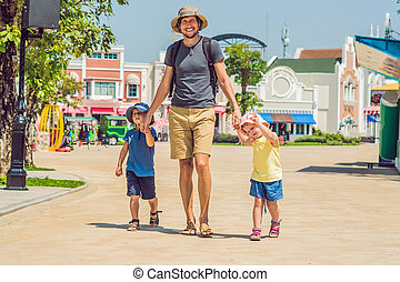 amusement, parc, avoir, famille, heureux