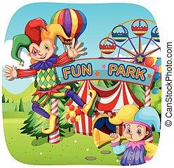 amusement, parc, deux, farceurs