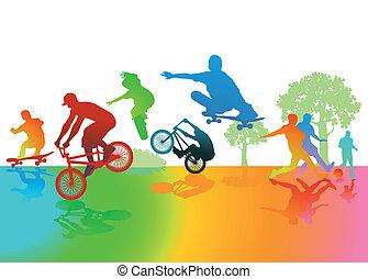 amusement, parc, exercice