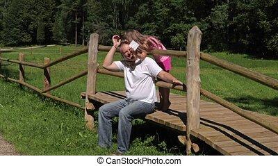 amusement, parc, faire, fille, père