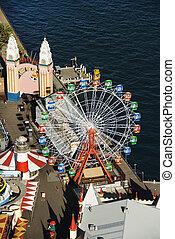 Amusement park. - Aerial view of ferris wheel in Luna Park ...