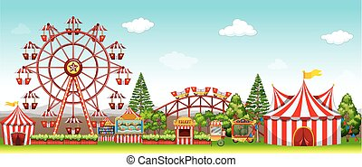 Amusement park at daytime illustration