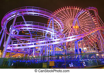 Amusement park at night