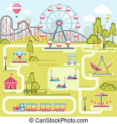 Amusement park attractions vector flat plan template design