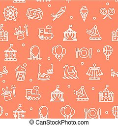 Amusement Park Background Pattern. Vector - Amusement Park...