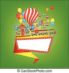 Amusement park banner, poster template, flat style