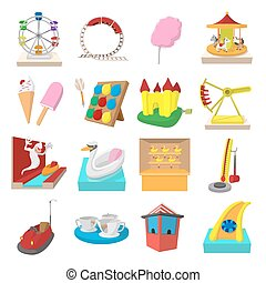 Amusement park cartoon icons