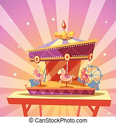 Amusement park cartoon with retro merry-go-round carousel...