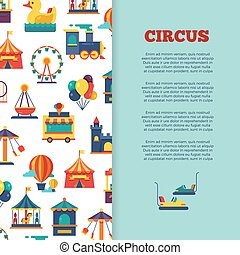 Amusement park circus banner design with icons