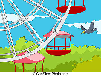Amusement Park. Cartoon Background. Vector Illustration EPS...