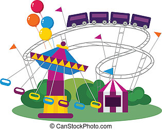 Amusement Park - Illustration of an Amusement Park, isolated...