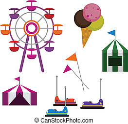 Amusement Park - Illustrations of Amusement Park symbols,...