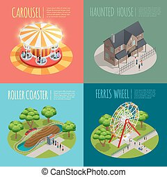 Amusement Park Concept Icons Set - Amusement park concept...
