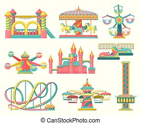 Amusement park design elements set, merry go round, inflatable trampoline, free fall tower, castle, carousel with horses, roller coaster vector Illustration on a white background