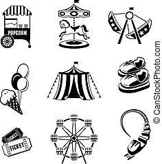Amusement park elements - Amusement entertainment park black...