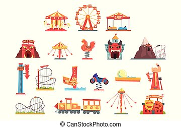 Amusement park elements set, funfair attraction colorful...
