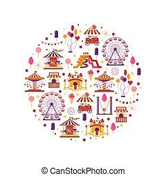 Amusement park flat elements in circle with carousels, waterslides, balloons, flags, inflatable trampoline castle, ferris wheel, mobile kiosk with sweets, catapult isolated on white background. Set family attractions for invitational cards, banners.