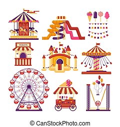 Amusement park flat elements with carousels, waterslides, balloons, flags, inflatable trampoline castle, ferris wheel, mobile kiosk with sweets, catapult isolated on white background. Set family attractions for invitational cards, banners.
