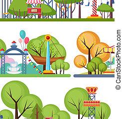 Amusement park horisontal banners. Volumetric color vector...