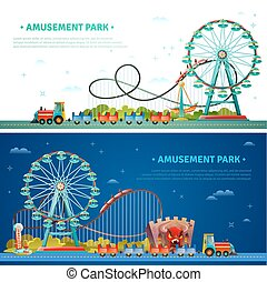 Amusement Park Horizontal Banners - Amusement park...