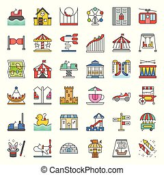 Amusement park icon and coin operated ride, filled outline icons set