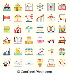 Amusement park icon and coin operated ride, flat design icons set