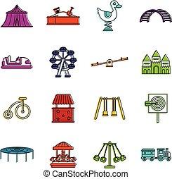 Amusement park icons doodle set