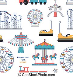 Amusement Park icons pattern - Colorful pattern amusement...