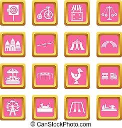 Amusement park icons pink