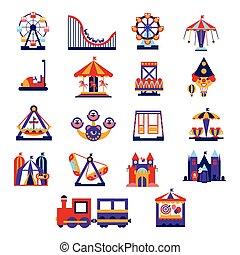 Amusement Park Icons Set - Amusement Park Primitive Colorful...