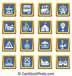 Amusement park icons set blue square