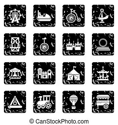 Amusement park icons set grunge