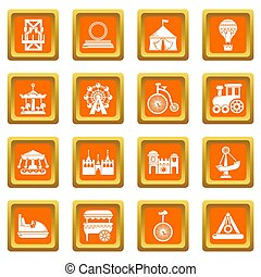 Amusement park icons set orange square