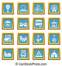 Amusement park icons set sapphirine square