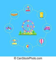 Amusement Park Icons Set, Vector Illustration