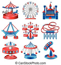 Amusement park icons vector set - Amusement park icons...