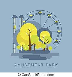 Amusement Park illustration - Vector illustration of an ...