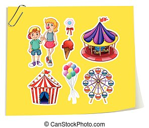 Amusement Park - Stickers of amusement park theme on yellow...