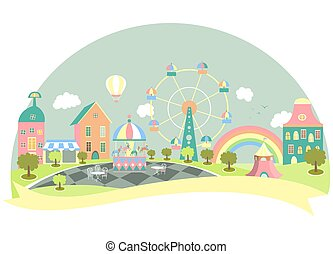 Amusement park in flat style. Vector illustration