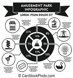 Amusement park infographic elements, simple style