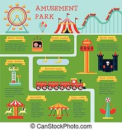 Amusement Park Infographic Set