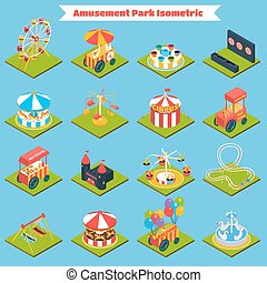 Amusement Park Isometric - Amusement park isometric icons...