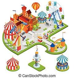 Amusement Park Isometric Composition
